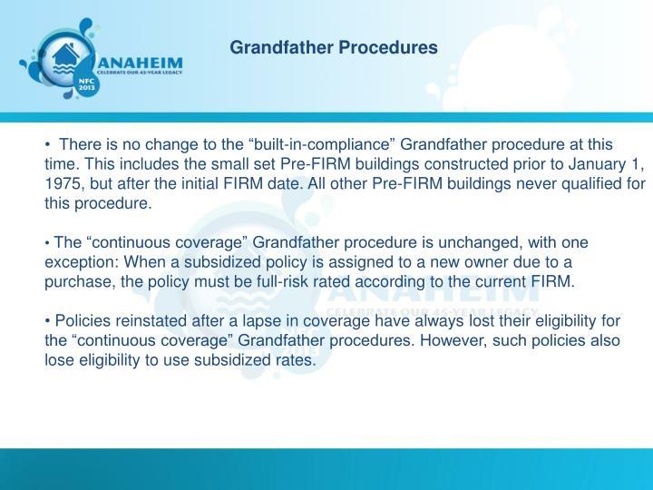 Grandfather Procedures