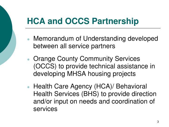 HCA and OCCS Partnership