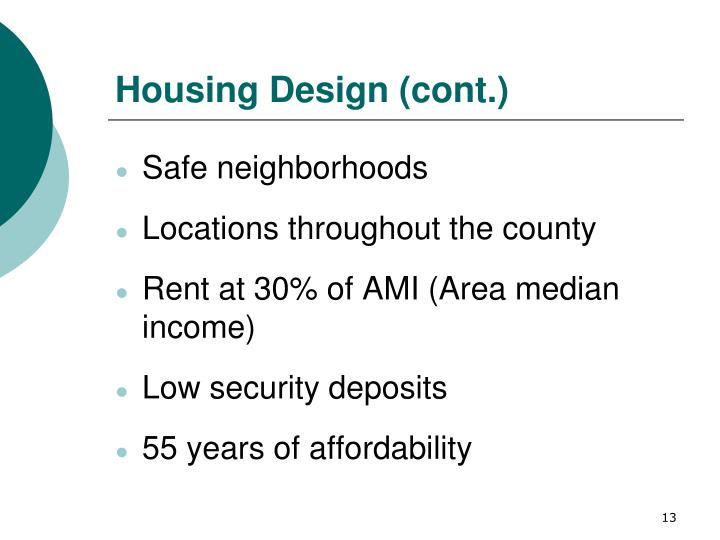 Housing Design (cont.)
