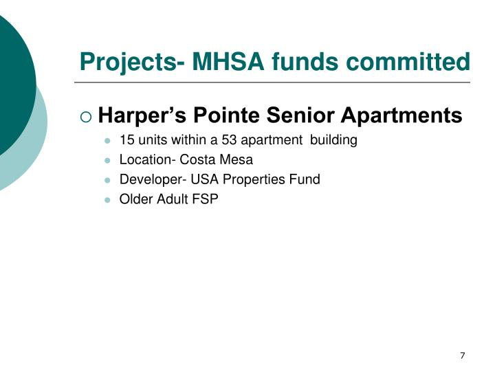 Projects- MHSA funds committed