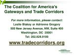 the coalition for america s gateways and trade corridors