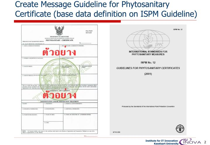 Create message guideline for phytosanitary certificate base data definition on ispm guideline