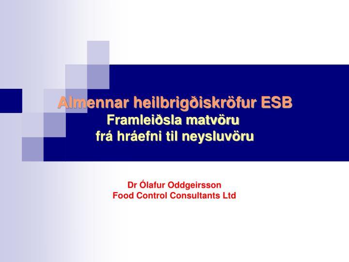 Almennar heilbrigðiskröfur ESB