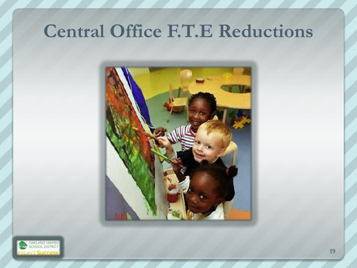 Central Office F.T.E Reductions