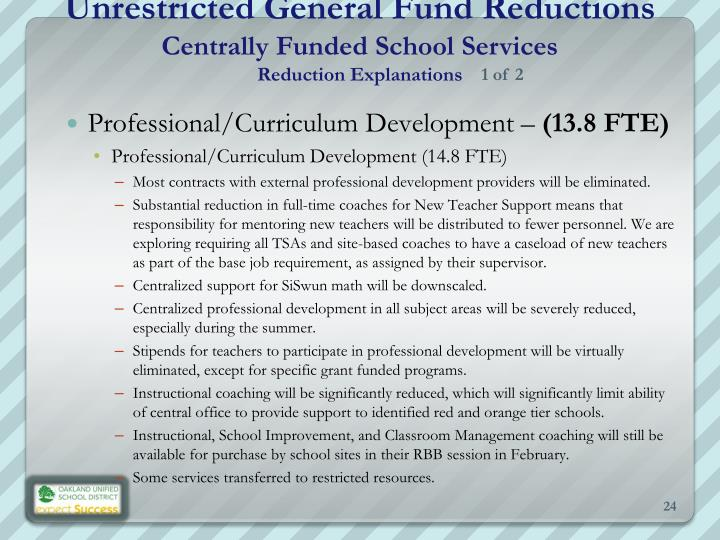 Unrestricted General Fund Reductions