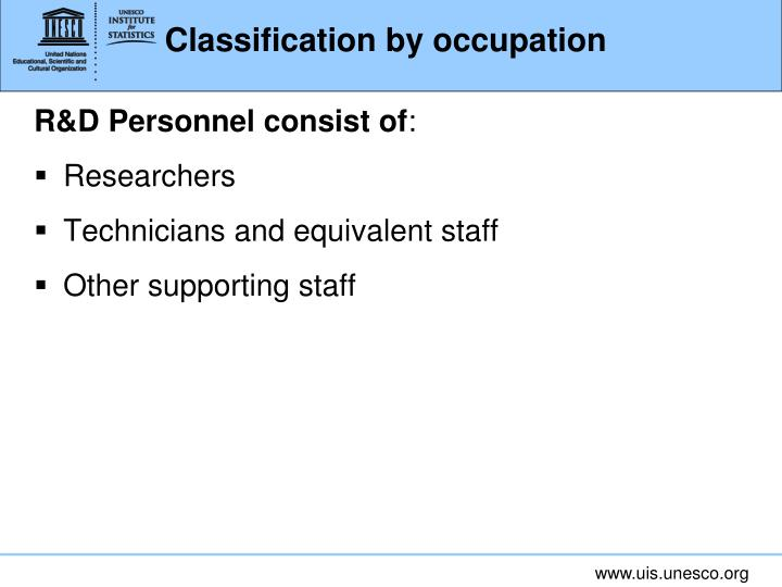 Classification by occupation