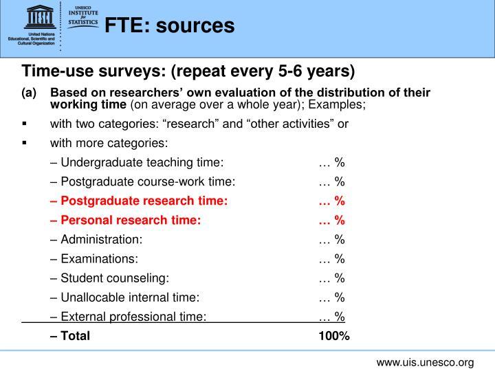 FTE: sources