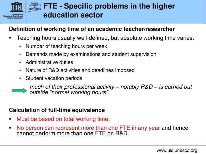 FTE - Specific problems in the higher education sector