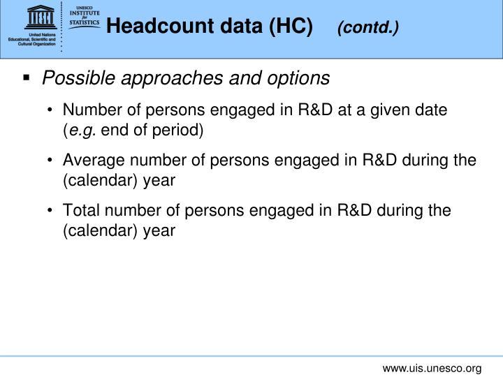 Headcount data (HC)