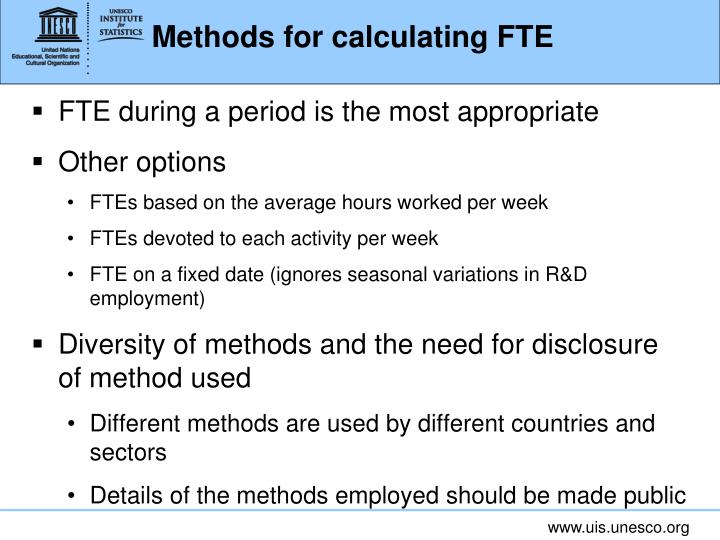 Methods for calculating FTE