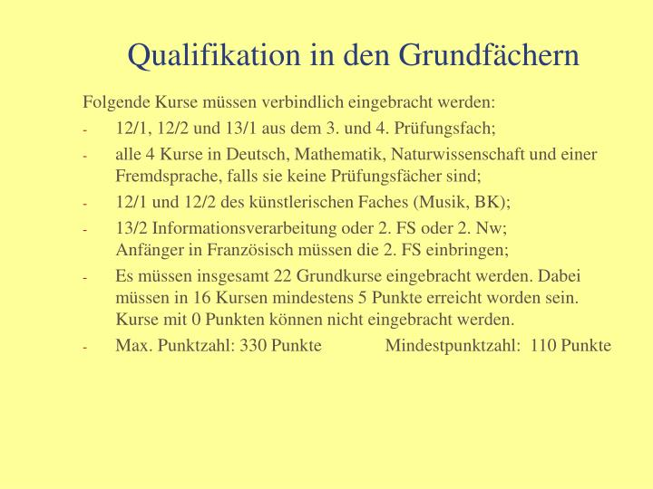 Qualifikation in den Grundfächern