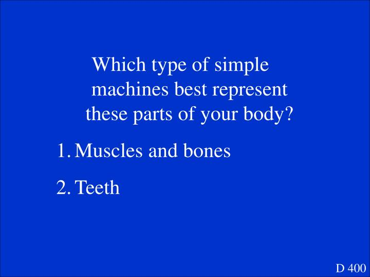Which type of simple machines best represent these parts of your body?