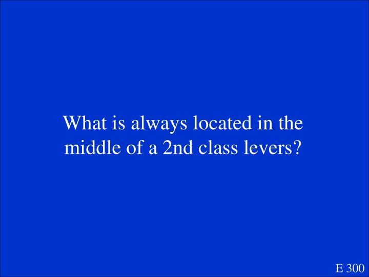 What is always located in the middle of a 2nd class levers?