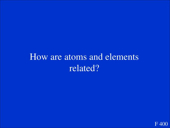 How are atoms and elements related?