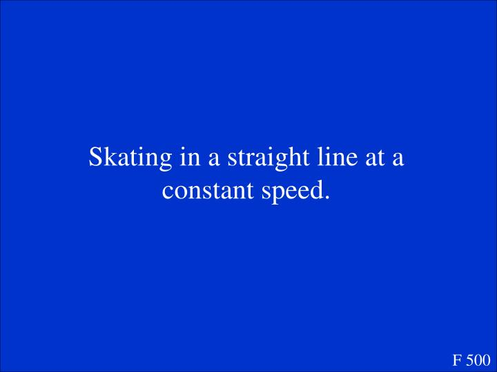 Skating in a straight line at a constant speed.