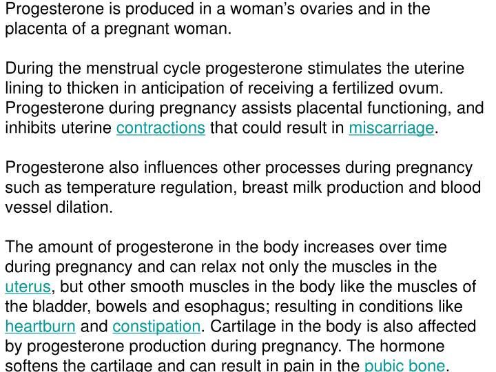 Progesterone is produced in a woman's ovaries and in the placenta of a pregnant woman.