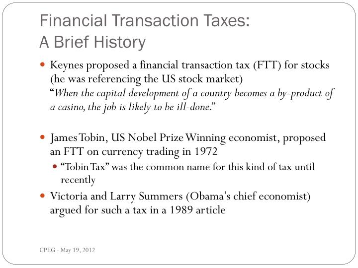 Financial transaction taxes a brief history