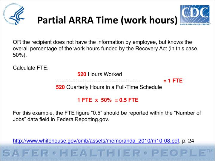 Partial ARRA Time (work hours)