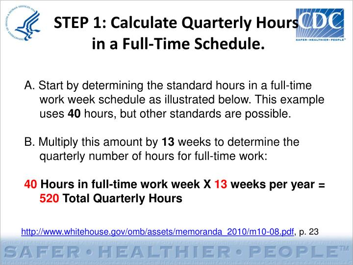 Step 1 calculate quarterly hours in a full time schedule