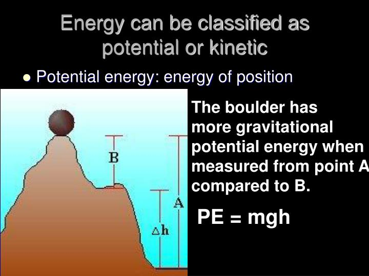 Energy can be classified as potential or kinetic
