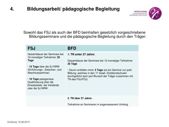 Sowohl das FSJ als auch der BFD beinhalten gesetzlich vorgeschriebene Bildungsseminare und die pädagogische Begleitung durch den Träger: