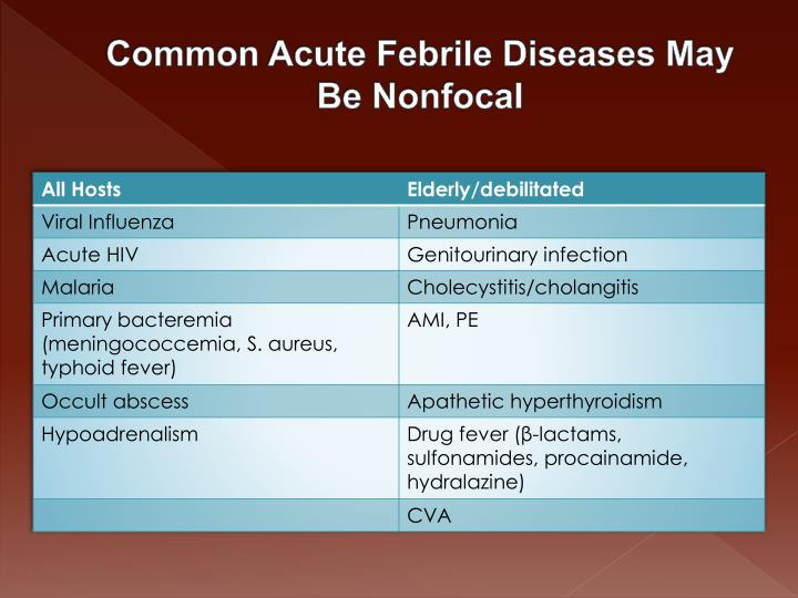 Common Acute Febrile Diseases May Be Nonfocal