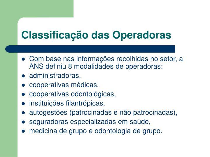 Classificação das Operadoras