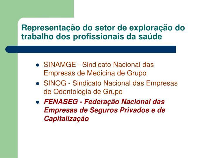 Representação do setor de exploração do trabalho dos profissionais da saúde