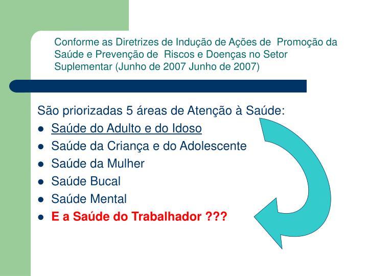 Conforme as Diretrizes de Indução de Ações de  Promoção da Saúde e Prevenção de  Riscos e Doenças no Setor
