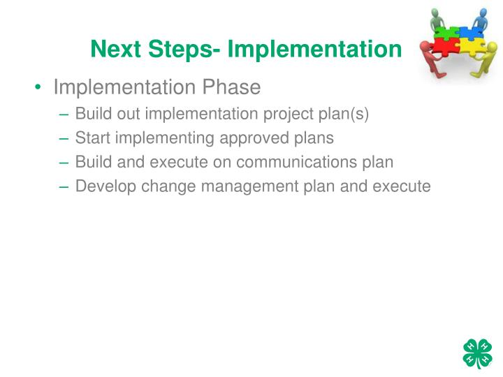Next Steps- Implementation