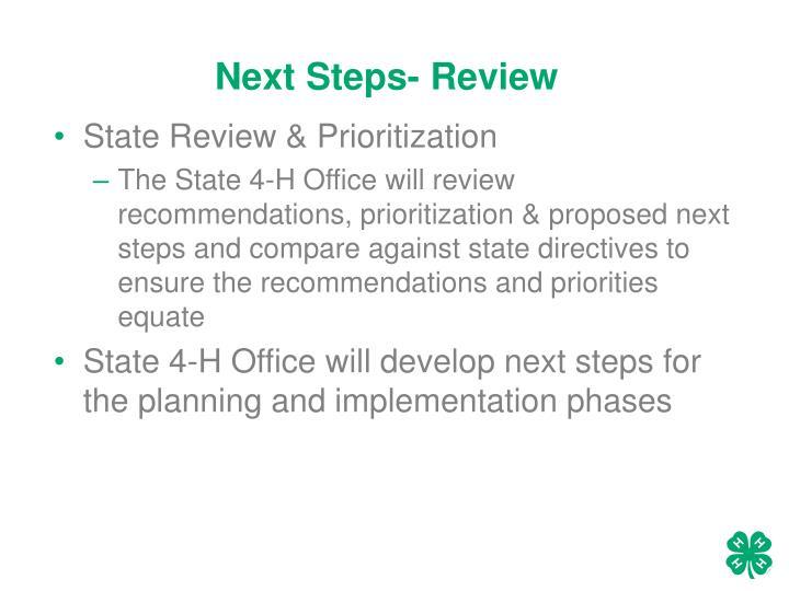 Next Steps- Review