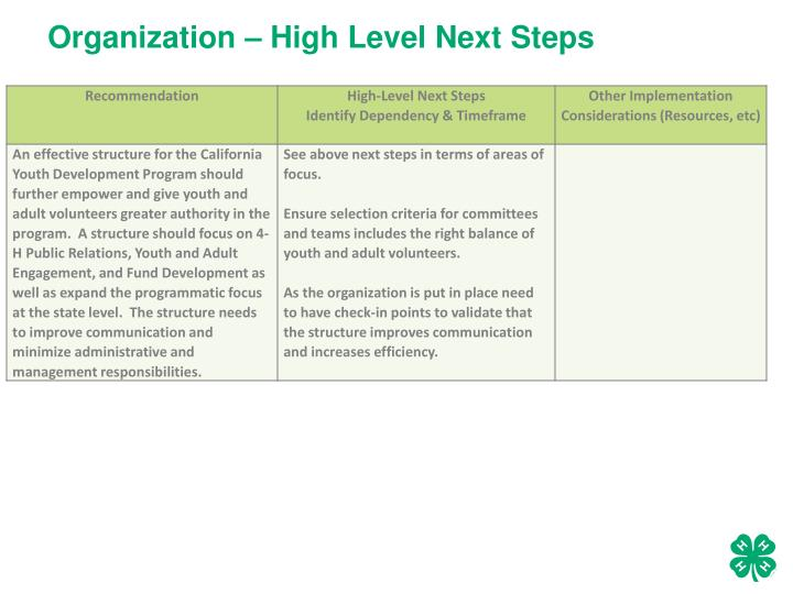 Organization – High Level Next Steps
