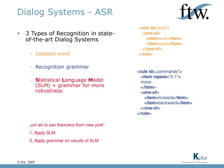 Dialog Systems - ASR
