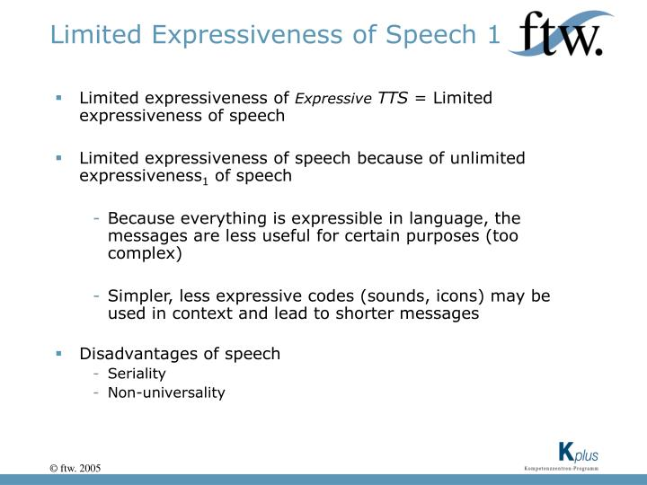 Limited Expressiveness of Speech 1