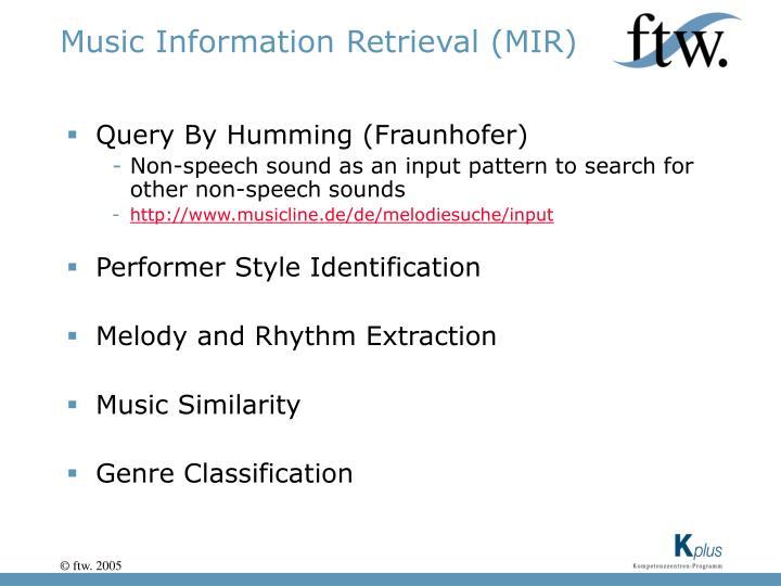 Music Information Retrieval (MIR)
