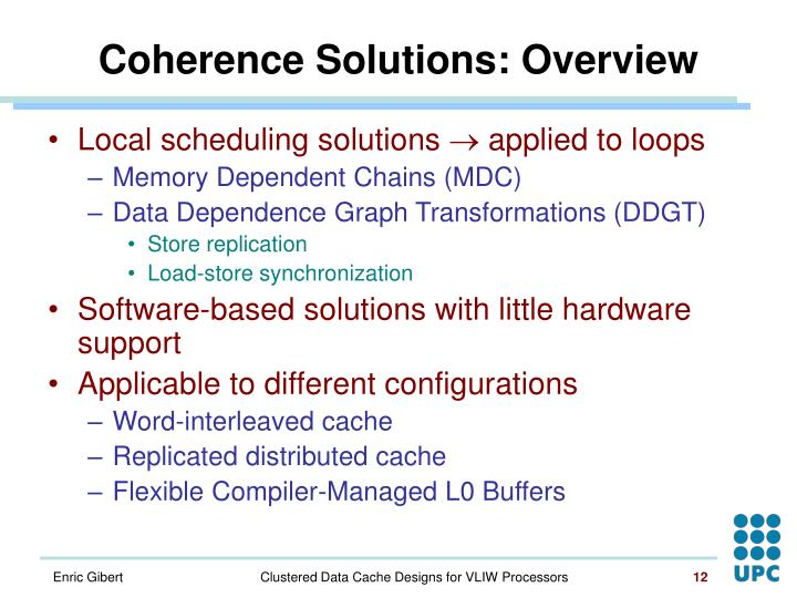 Coherence Solutions: Overview