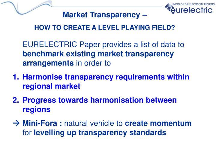 Market Transparency –