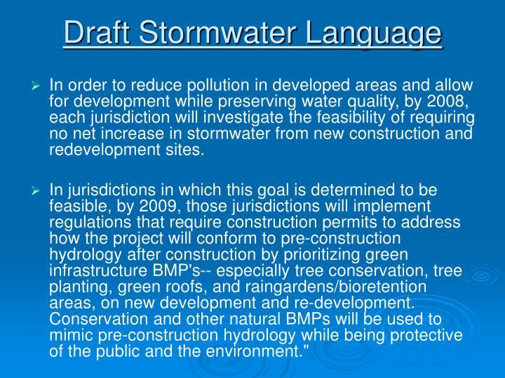 Draft Stormwater Language