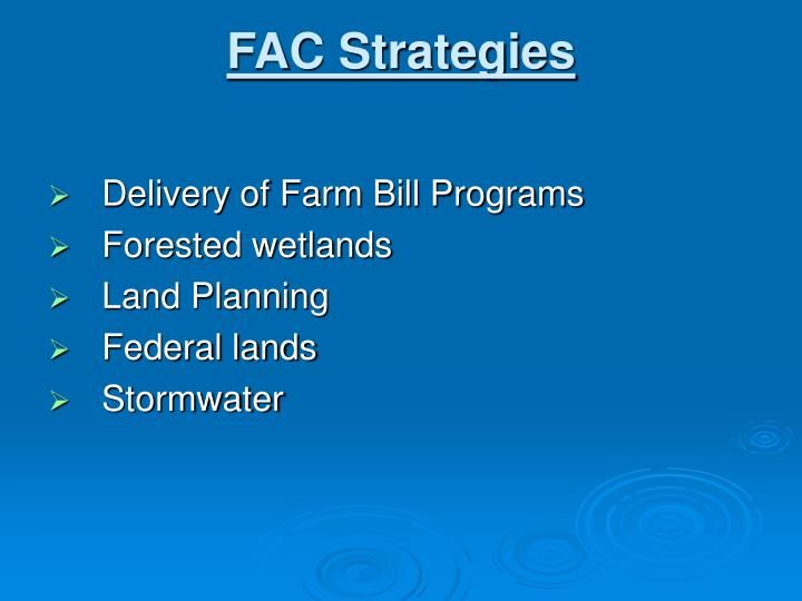 FAC Strategies