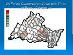 va forest conservation value with threat of forest conversion