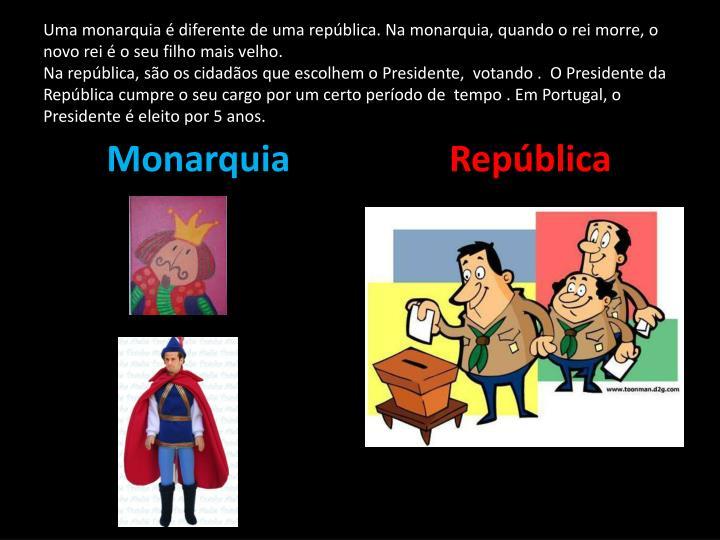Uma monarquia é diferente de uma república. Na monarquia, quando o rei morre, o novo rei é o seu filho mais velho.