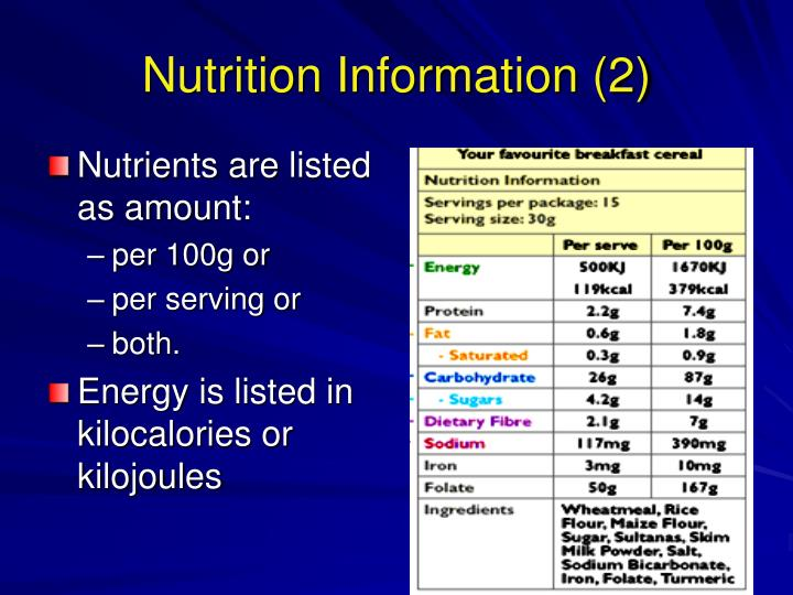 Nutrients are listed as amount: