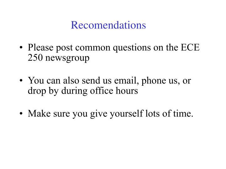 Recomendations