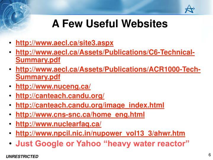 A Few Useful Websites
