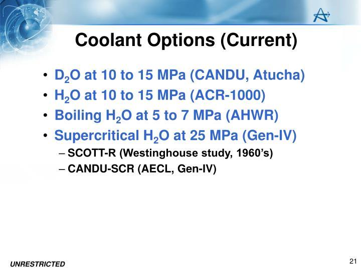 Coolant Options (Current)