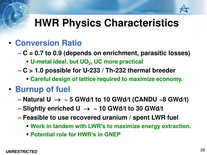 HWR Physics Characteristics