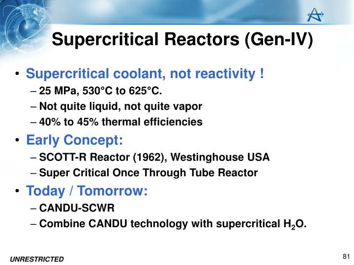 Supercritical Reactors (Gen-IV)