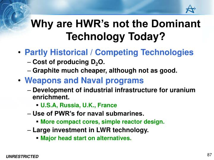 Why are HWR's not the Dominant Technology Today?
