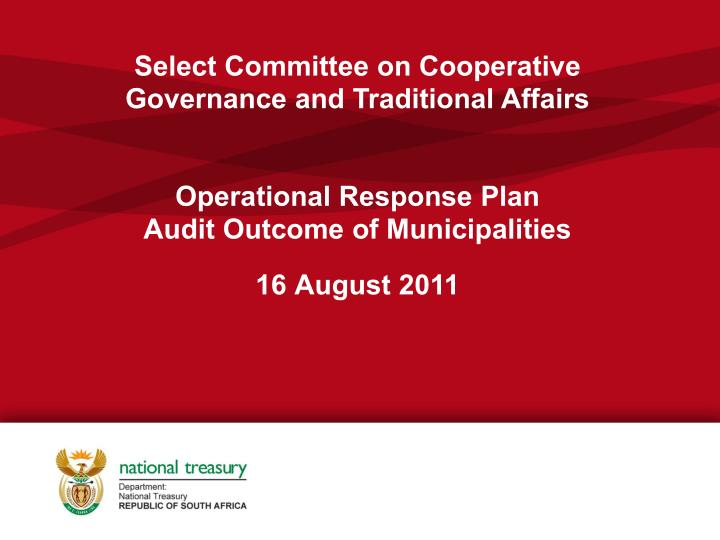 Select Committee on Cooperative Governance and Traditional Affairs