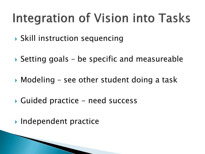 Integration of Vision into Tasks
